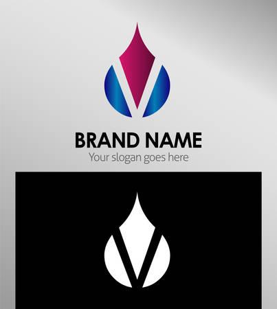 set symbols: Abstract icons based on the letter V logo Illustration