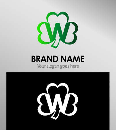 alphabetical: Alphabetical Logo Design Concepts Clover. Letter W Illustration