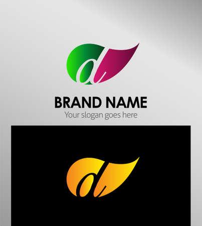 Leaf icon Letter D Logo Ilustração