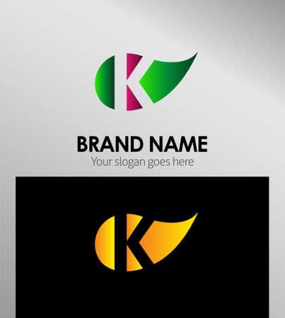 Leaf logo icon Letter k