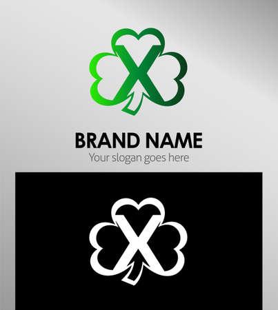 xy: Alphabetical Logo Design Concepts Clover. Letter x