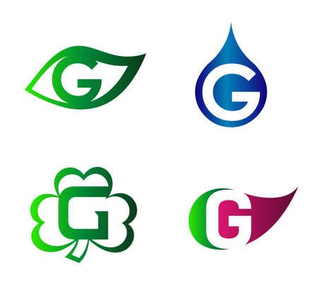 Set of letter G logo design template elements icons. Collection of vector signs Logó
