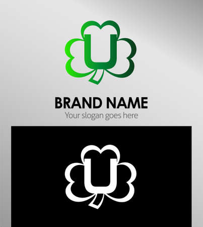 alphabetical: Alphabetical Logo Design Concepts Clover. Letter U Illustration