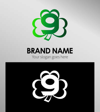clover icon: Clover icon logo design template elements. The number 9 Illustration