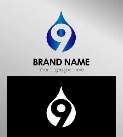 numero nueve: Número nueve 9 icono elementos logo plantilla