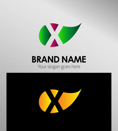 xy: X letter Eco logo Illustration