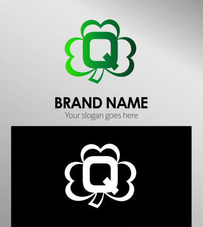 alphabetical: Alphabetical Logo Design Concepts Clover. Letter Q Illustration