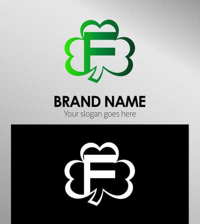 clover buttons: Letter F logo design template elements Clover icon Illustration