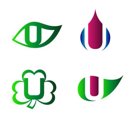 labirinth: Vector alphabet Letter U Logo template design element