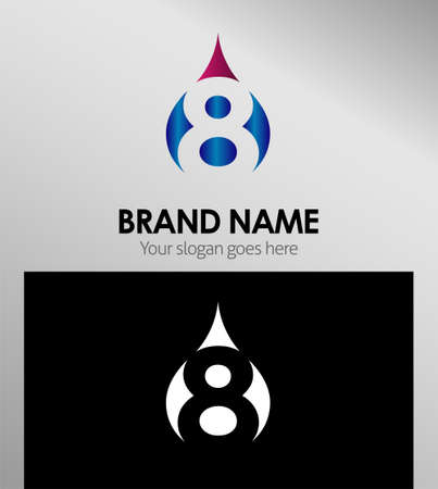 Number eight 8 logo icon template elements Illustration