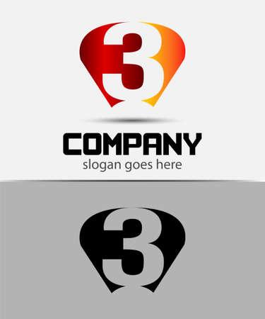 logo vector: Vector logo sign number 3