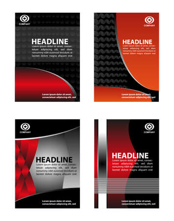 red abstract backgrounds: Marketing flyer background set