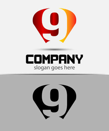 9 ball: Vector sign number 9 logo icon