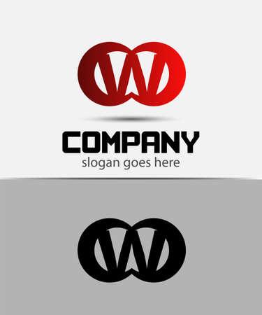 typesetter: Alphabetical Logo Design Concepts. Letter W Illustration