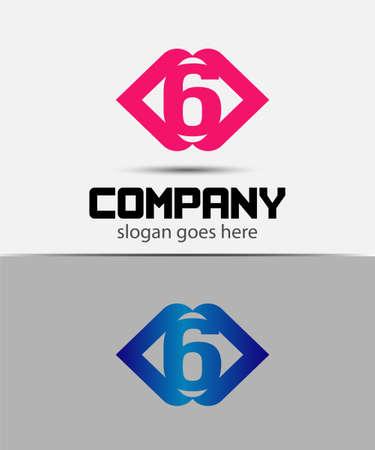 number 6: Number 6 logo. Vector logotype design. Illustration