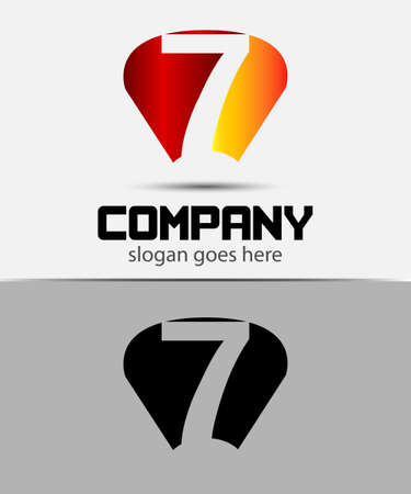 number 7: Vector icon sign number 7 Illustration