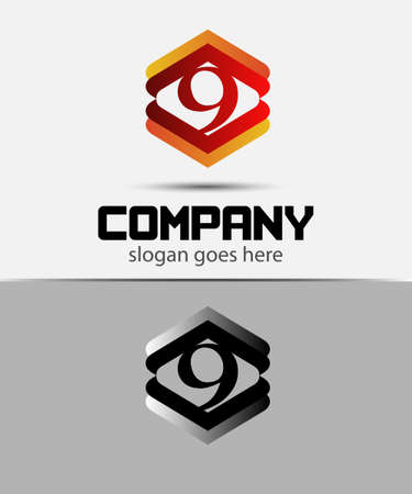 better icon: Vector logo sign number 9