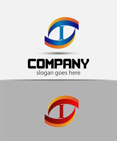 letter i: Eye logo elements with letter i icons