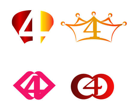 ninth: Abstract Number 4 logo Symbol icon set Vectores