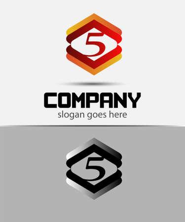 logo vector: Vector logo sign number 5