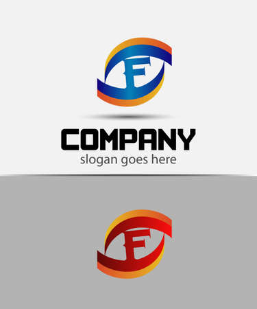 letter f: Eye logo element with letter F icons Illustration