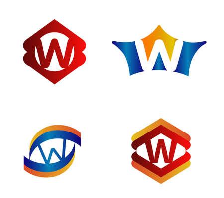 alphabetical: Letter W Logo Design Concepts set Alphabetical