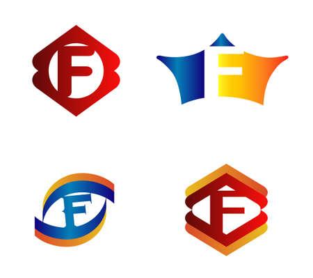 Letter F Logo Design Concepts set Alphabetical Ilustração