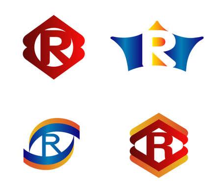 typesetter: Letter R Logo Design Concepts set Alphabetical Illustration