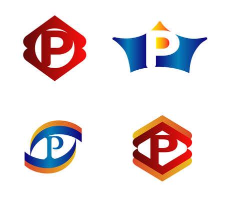 Letter P Logo Design Concepts set Alphabetical