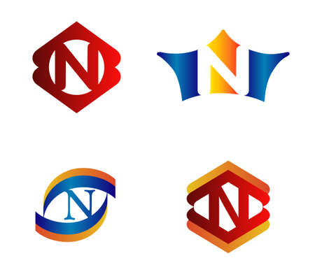 alphabetical: Letter N Logo Design Concepts set Alphabetical Illustration