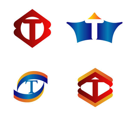 alphabetical: Letter T Logo Design Concepts set Alphabetical Illustration