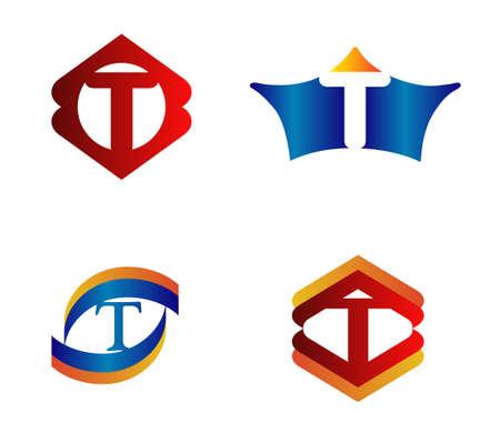 alphabetical: Letter T Logo Design Concepts set Alphabetical Illustration