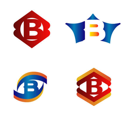 Letter B Logo Design Concepts set Alphabetical