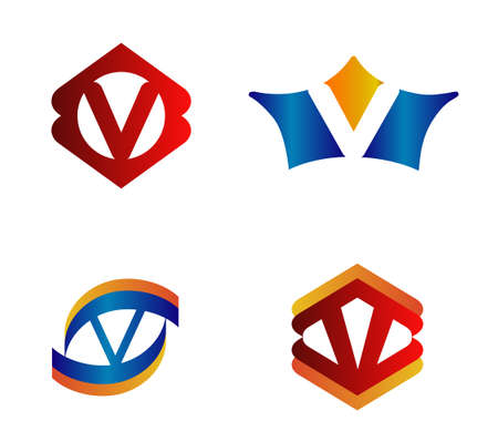 Letter V Logo Design Concepts set Alphabetical