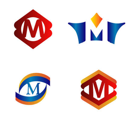 alphabetical: Letter M Logo Design Concepts set Alphabetical Illustration