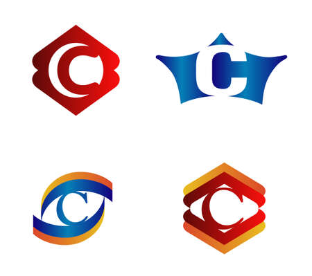 alphabetical: Letter C Logo Design Concepts set Alphabetical Illustration