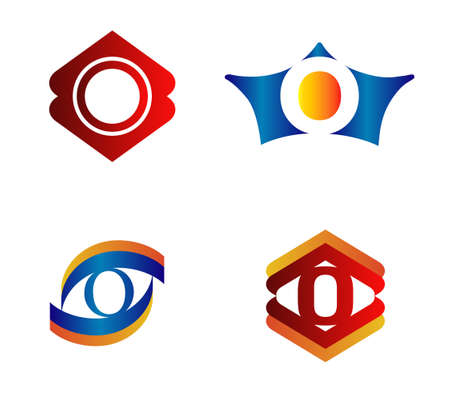 typesetter: Letter O Logo Design Concepts set Alphabetical Illustration