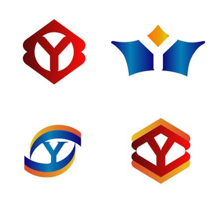 Letter Y Design Concepts set Alphabetical Logo