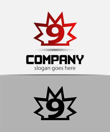 number nine: Number nine 9 logo icon template