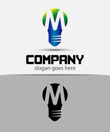 fresh idea: Fresh idea art design concept M logo vector design template. Creative thinking art Illustration