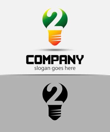 number 2: Number 2 logo. Vector logotype design set Illustration