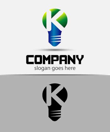 fresh idea: Fresh idea art design concept K logo vector design template. Creative thinking art Illustration