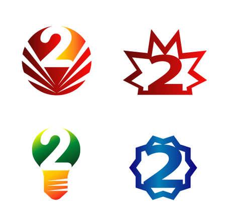 number 2: Number 2 logo set