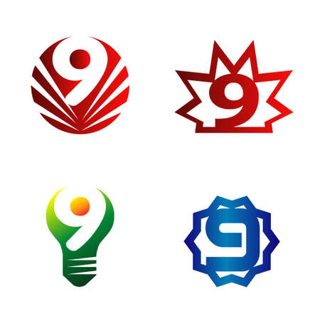numero nueve: El número nueve logo.Logo 9 conjunto