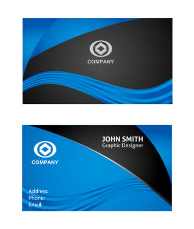 name template: Wave Business Card Illustration