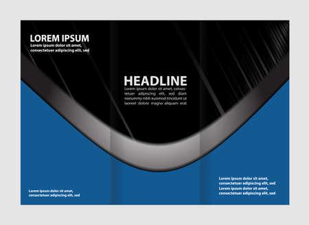blue book: Vector blue tri-fold brochure design template