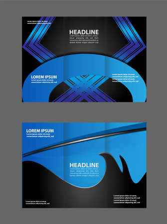 magazine stack: Tri-fold business brochure template, two-sided template design, mock-up cover in blue colors