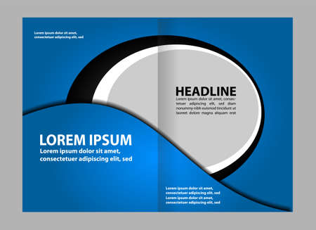 magazine stack: Bi-fold brochure template design with color