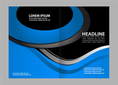 blue book: Vector empty brochure template design elements
