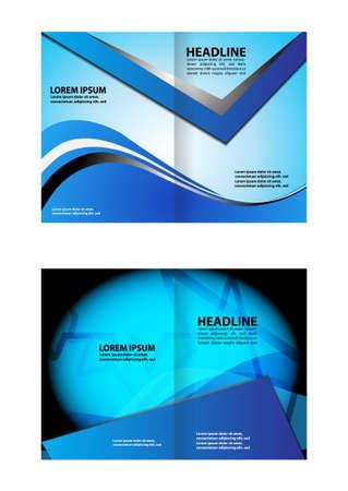 bifold: Blue bi-fold brochure template design, business leaflet, booklet Illustration